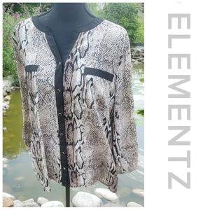 Elementz snakeskin button-down blouse XL animal